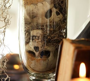 Skulls in glass
